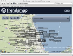 Chicago-area Trendsmap from Sunday night