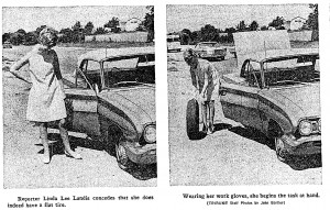 1967: Linda Lee Landis changes a tire; photos by John Bartley.