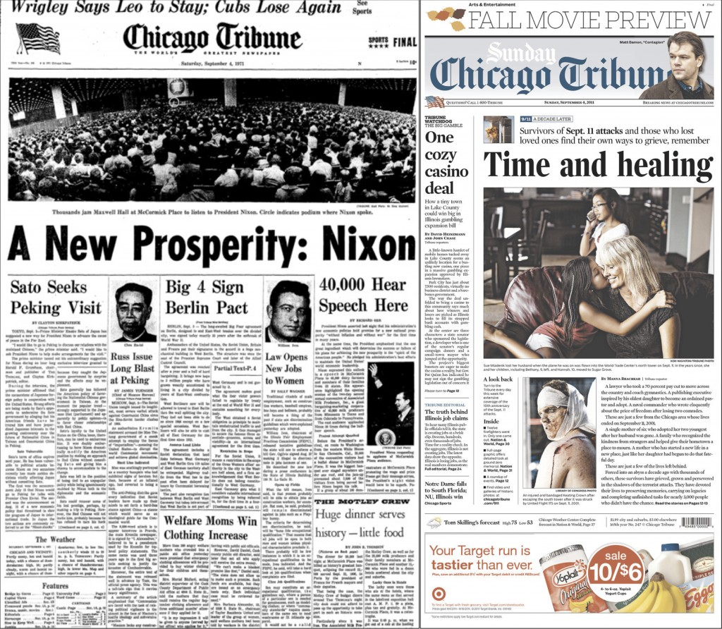 Front pages, Sept. 4 1971 and 2011