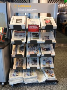 Newspaper rack at the Frankfurt airport