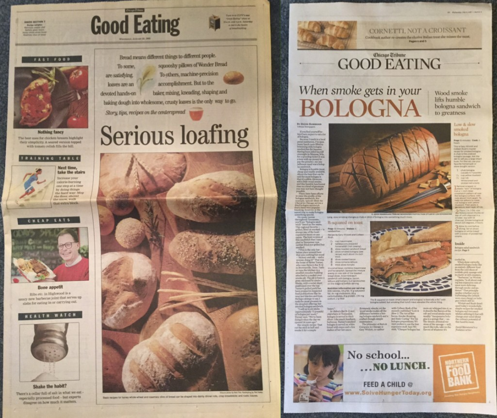 The first and last issues of the Chicago Tribune's Good Eating section, 1/25/1995 and 7/11/2015.