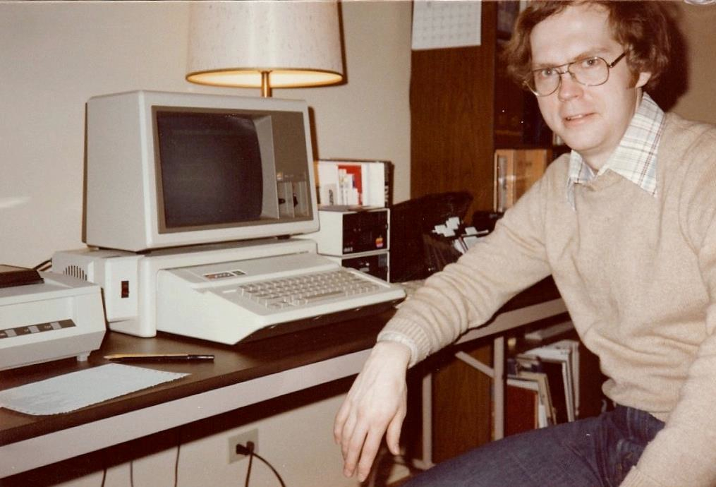 Owen with his Apple //e, 1983