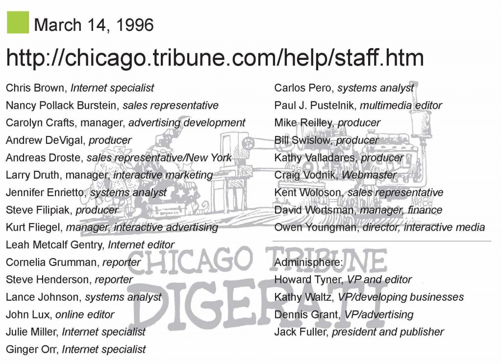 Chicago.tribune.com lanch staff, 1996