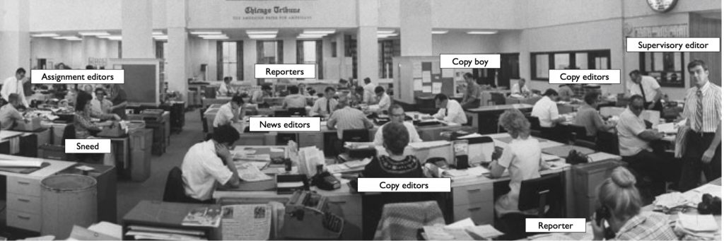Annotated newsroom photo